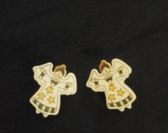 Wooden Angel Earrings