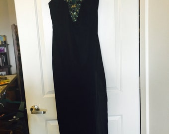Vintage inspired T-Back Velvet Gown