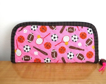 Pink Tennis Lover Wallet With Green Pattern