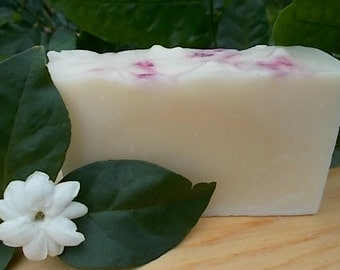 Jasmine Artisan Soap - Cold Process - Shea Butter - Organic Sunflower Oil - Handmade - Vegan - Floral Soap
