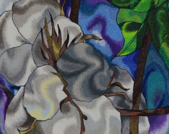 """Ink and Colored Pencil abstract print.  """"Cotton"""""""
