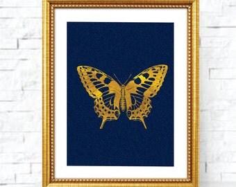 Printable art Digital Prints Wall art Home decor Gold foil print butterfly printable art, printable prints