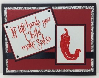 Salsa Note Card - Thinking of You Card - Chile - Gift Card - Handmade