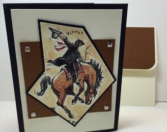 Cowboy Birthday Card - Western - Rode - Saddle Bronc - Handmade