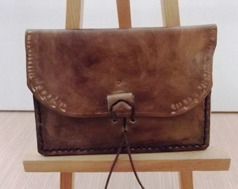 Aged leather wallet
