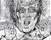 "Digital Zombie Coloring Page - TRUMP ""Make America Grave Again"""