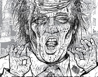 "Digital Zombie Coloring Page - TRUMP ""Make America Grave Again"""