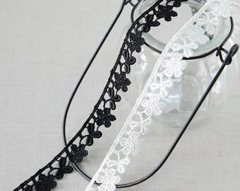 "20 yard 1.6cm 0.62"" wide black/ivory embroidery lace trim trims ribbon L22K193 free ship"
