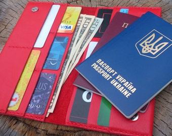 Travel wallet, leather passport wallet, passport case, ticket holder, leather wallet, leather passport holder, leather accessories, gift