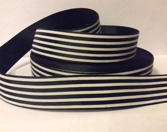 """1 metre BLACK & WHITE stripes grosgrain ribbon - 1"""" wide."""