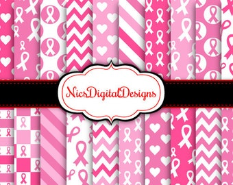 20 Digital Papers. Think Pink-Breast Cancer Awareness (6 no 1) for Personal Use and Small Commercial Use Scrapbooking