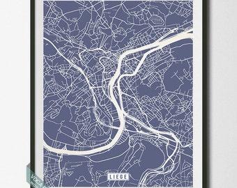 Liege Print, Belgium Poster, Liege Poster, Liege Map, Belgium Print, Belgium Map, Liège, Street Map, Home Art, Dorm Decor