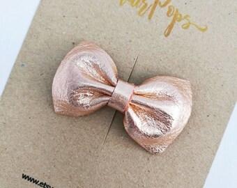 Genuine Leather Bow Clip - Peach