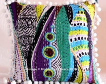 """Hippie Bohemian Indian Vintage Cotton Kantha Style Hand Quilted Thread Work Pillow Case Decorative 16X16"""" Indian Decorative Cushion Cover @1"""