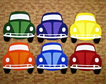 Iron On Applique Volkswagon Beetle Bug, Set of 6 Bugs, Vintage VW Bugs, Hippie Bugs, Rainbow Colors