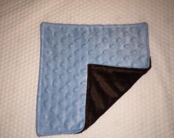 Double sided-minky lovey-mini blanket-brown-blue-baby boy-reversible