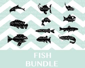 Fish SVG Bundle, Fish bundle, Fish Clipart SVG, Png, DXF, Cutting Files Svg, Fish clipart, fish clipart, fish png, Dolphin png, catfish svg