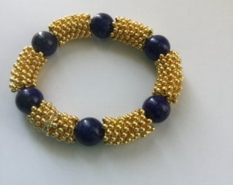 Lapis and gold plated bracelet.