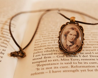 Charlotte Bronte Pendant Necklace - Antique Bronze, Literary Jewelry, Library Necklace, Gift For Reader, Book Lover, Vintage Jewellery