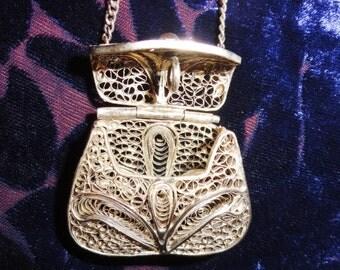 Filigree Miniature Purse Pendant Necklace