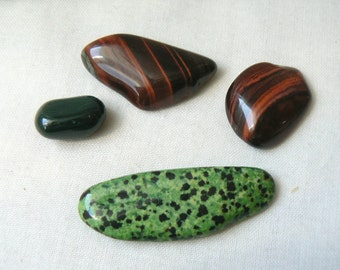 Set of four polished stones - Lot P225 Agate Jasper Red Tiger's Eye