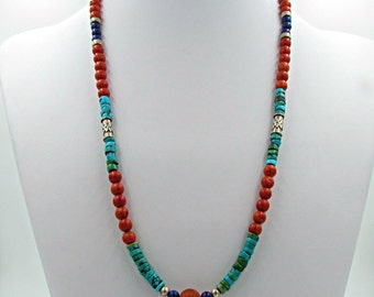 Red coral, Lapis Lazuli and Turquoise natural stone Mala Necklace