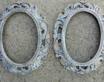 Antique frames Handpainted frames White frames Pair of frames 2 frames Wretched Elegance Vintage frames Ornate frames Antique frames