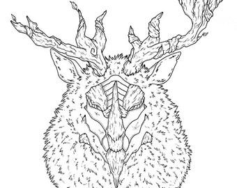 """ORIGINAL ILLUSTRATION """"Forest God"""" A3 (29.7 x 42 cm ; 190 g/m2)"""