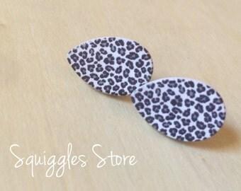 Hypoallergenic Stud Earrings with titanium posts - Mini Leopard Print Animal Wood Teardrop - Sensitive Ears