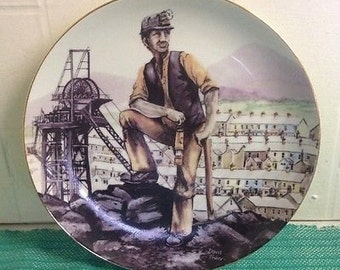 Miners Collectable Plate by David Fisher, Ltd Edition - Saxony 1985