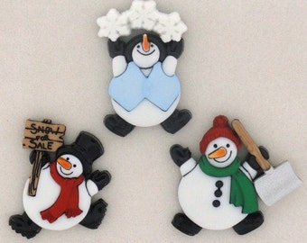 Roly Poly Snowmen Buttons, Jesse James, Dress It Up, Embellishments, hair bow supplies, hairbows, sewing, scrapbooking, Christmas, snow, fun