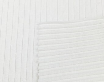 Supima Cotton with Spandex- 6x3 Rib Knit Fabric By the Yard (Wholesale Price Available By the Bolt) USA Made Premium - 6132 White - 1 Yard