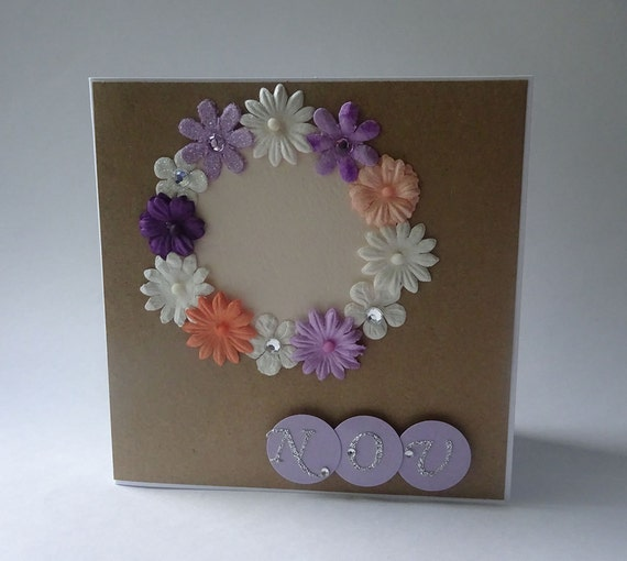 Greeting Cards - Handmade November Kraft Monthly Card with Flowers