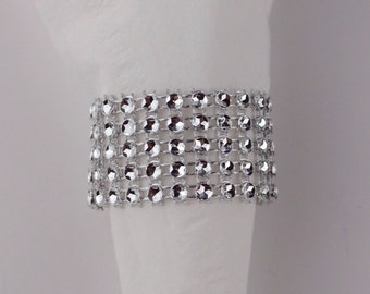40 Rhinestone Napkin Rings, Wedding Napkin Rings, Bling Napkin Rings, Silver Napkin Rings, Gold, Anniversary Decoration, Bling Mesh Rings