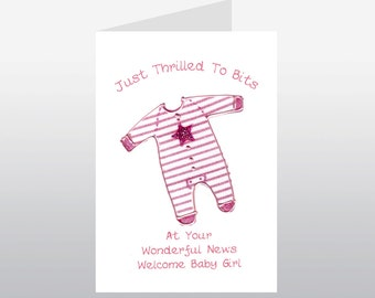 Baby Card Babygro Pink WWBA02