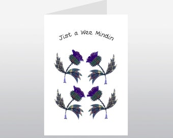 Scottish Greetings Card Thistle Mindin WWGR12