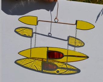 Stained glass suncatcher kayak hanging from silver steel chain