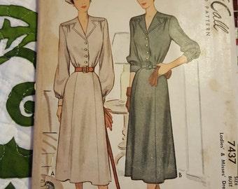 1940 McCalls 7437 vintage pattern size 20 Cut