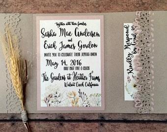 Unique wedding invitation, handmade pocketfold invitation, blush rustic printed invitation set, rose gold country theme, DIY wedding