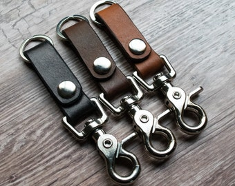 Small Leather Keychain Belt loop Design- Handmade- Button snap quick release