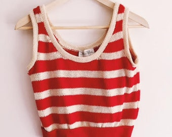 Cropped Stripe Sweater Tank