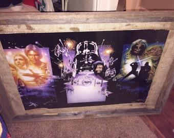 Very large Star Wars trilogy poster framed in barnwood