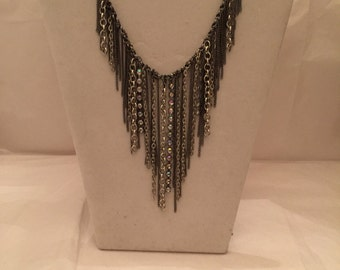 Silver Multi Chain Bib Necklace