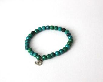 Chrysocolla charm bracelet / Blue Green Bracelet / natural stone bracelet