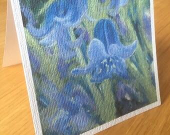 Spring Bluebells Art Blank Greeting Card