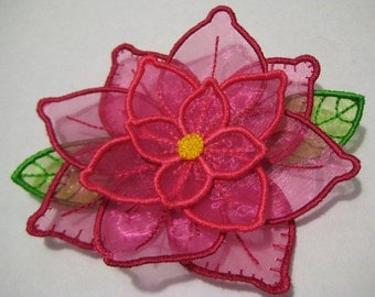 Free Standling Applique 3D Flower Project #387 ( Machine Embroidery Design from ATW )