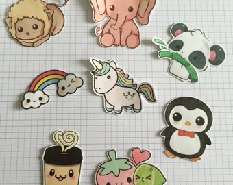 Kawaii cute animal glossy sticker pack of 8