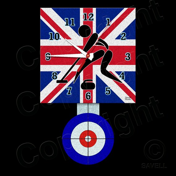 Curling Clock with Pendulum • Britain Curling • Curling Team