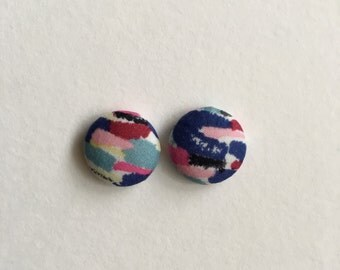 15mm Fabric Studs • Spring Sensation • Surgical Steel • fabric stud earrings • button studs • button earrings