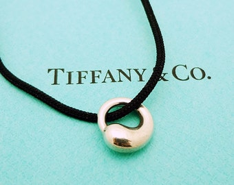SALE:  Tiffany & Co. Sterling Silver Eternal Circle Necklace on a Black Silk Cord